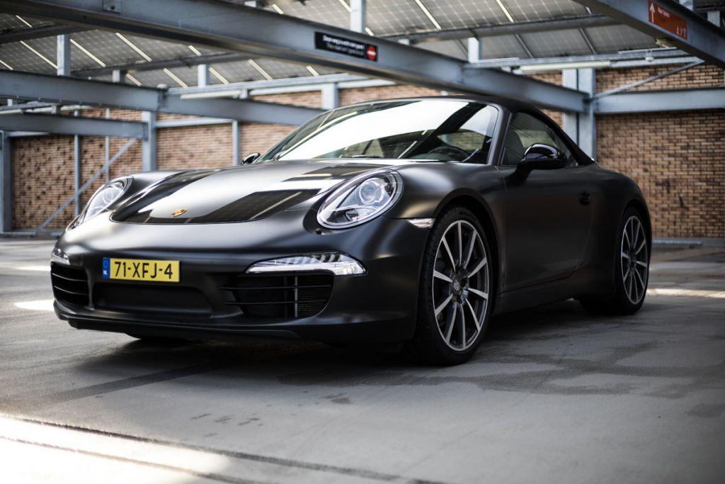 Carwrap Porsche Avery Satin Black